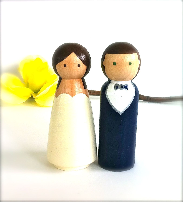 Semi Custom Wedding Cake Toppers Large Wood Peg Dolls