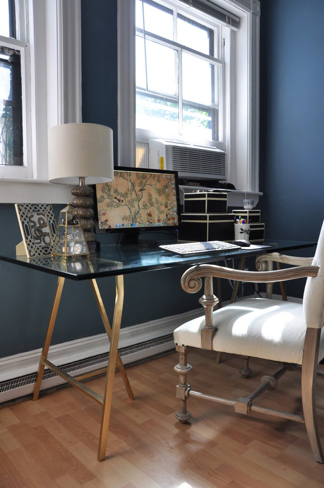 Nice Desk For The Bedroom Love The Gold Legs Glass Top Desk Home Decor Home