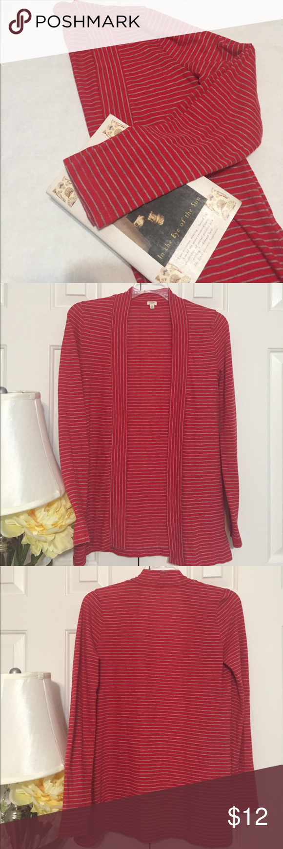 J. Crew Stripe Always Cardigan J.Crew Always Cardigan.  Grey stripes on red. Open front,  lightweight cardigan/ duster. Cotton/Polyester. Great preloved condition. No rips or stains. Stock pick for fit and styling show only. J. Crew Sweaters Cardigans