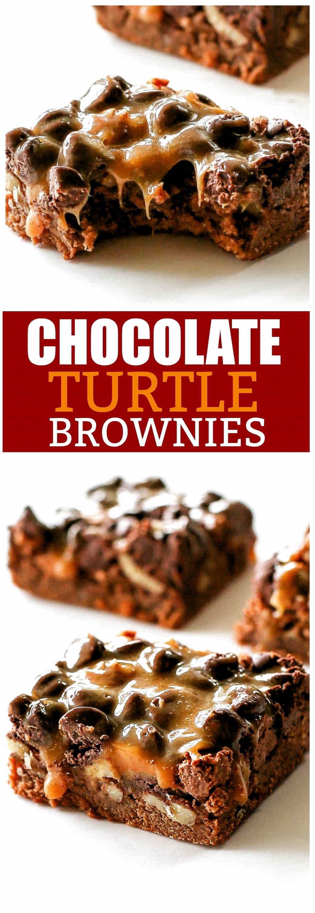 Chocolate Turtle Brownies are rich chocolate brownies with gooey caramel, nuts, and more chocolate. If you need a dessert for a crowd, here you go! #turtlebrownies Chocolate Turtle Brownies are rich chocolate brownies with gooey caramel, nuts, and more chocolate. If you need a dessert for a crowd, here you go!