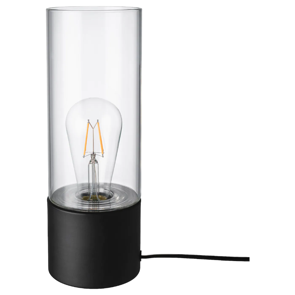 Ikea Mackebo Table Lamp Black Transparent Glass Combine The Table Lamp With A Decorative Light Bulb To Crea Black Table Lamps Lamp Decorative Light Bulbs