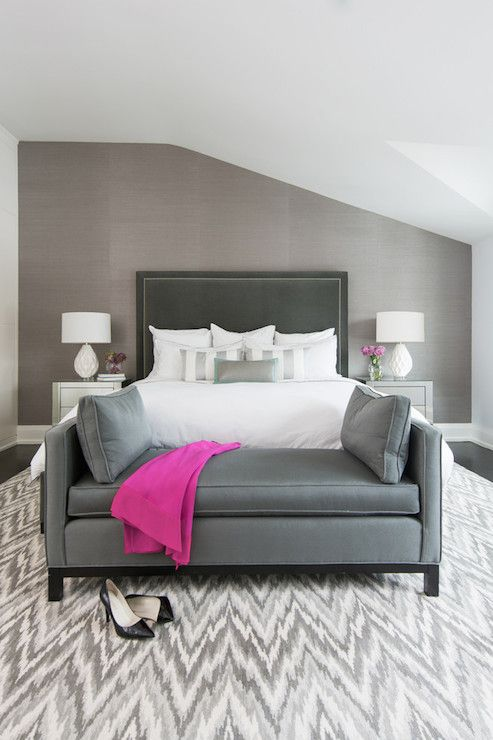 Grey Wall Bedroom jodie rosen design - bedrooms - gray bedrooms, white and grey