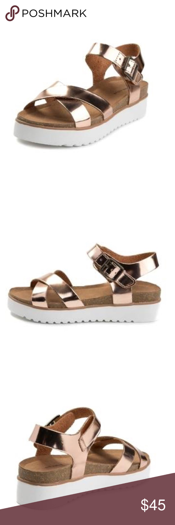 9c7fbefe97a Oetter Rose Gold Sandal Metallic Rose Gold Straps Adjustable Buckles Fits  True to Size Not Rated Shoes Sandals