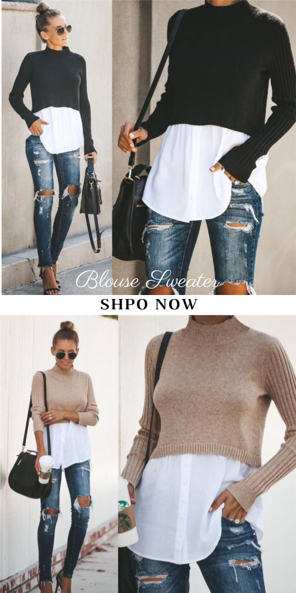 Splicing Long-sleeved Blouse Sweater-2color 13