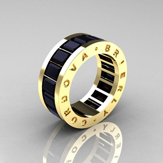 Mens Modern 14K Yellow Gold Black Diamond Channel Cluster Infinity Wedding Band R174-14YGBD on Etsy, $1,749.00