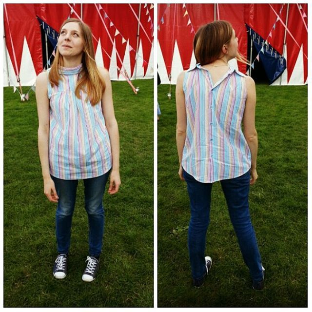 Had a great day @handmadefair today - modelling my #therefashioners2015 entry! It's made out of an XL men's shirt. Very loosely based on @guthrieghani's Yoke Top pattern, with a surprise at the back. Thanks to Alice for being so patient with the  #sewing #dressmaking