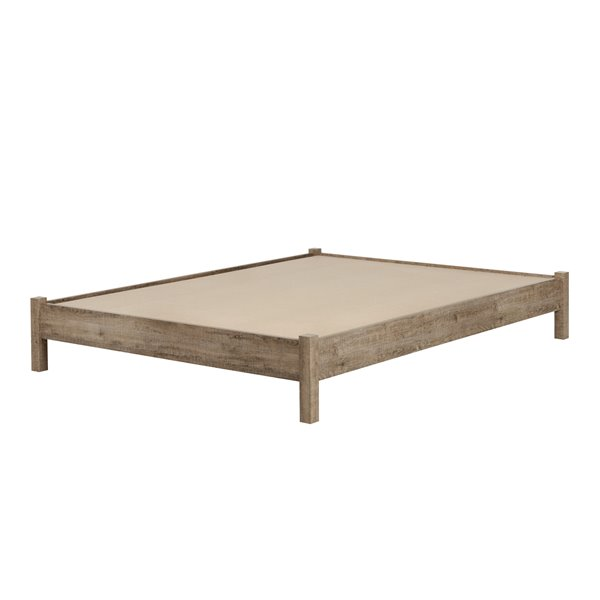 South Shore Furniture Weathered Oak And Matte Black 63 50 In X 82 80 In Munich Platform Bed On Legs 10 Platform Bed South Shore Furniture Queen Platform Bed
