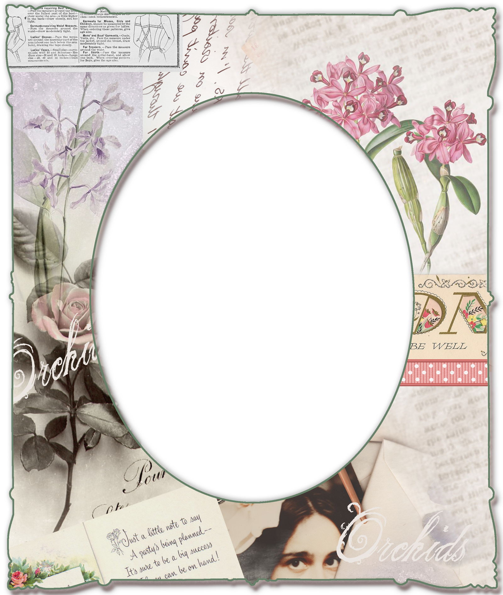 transparent png paper frame with orchids