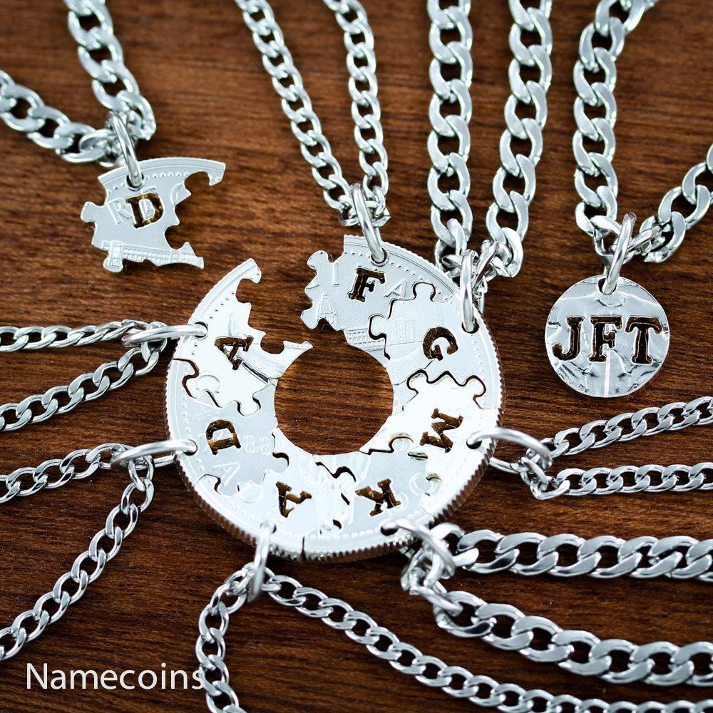 9 piece puzzle necklaces interlocking family jewelry set hand 9 piece puzzle necklaces interlocking family jewelry set hand cut canadian silver dollar by mozeypictures Choice Image