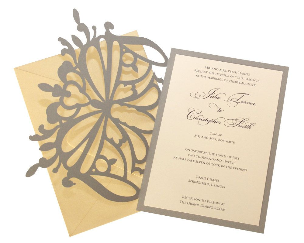 Elegant Butterfly Wedding Invitations, golden yellow, gold, charcoal ...