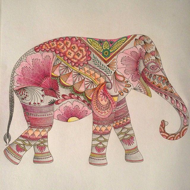 Coloriage A Imprimer Difficile Elephant.Raphaelle Dauzeres Dessins Jardim Secreto Livro Pinturas Et
