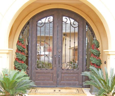 Double Front Door With Sidelights wrought iron, arch top double entry door with dual sidelights