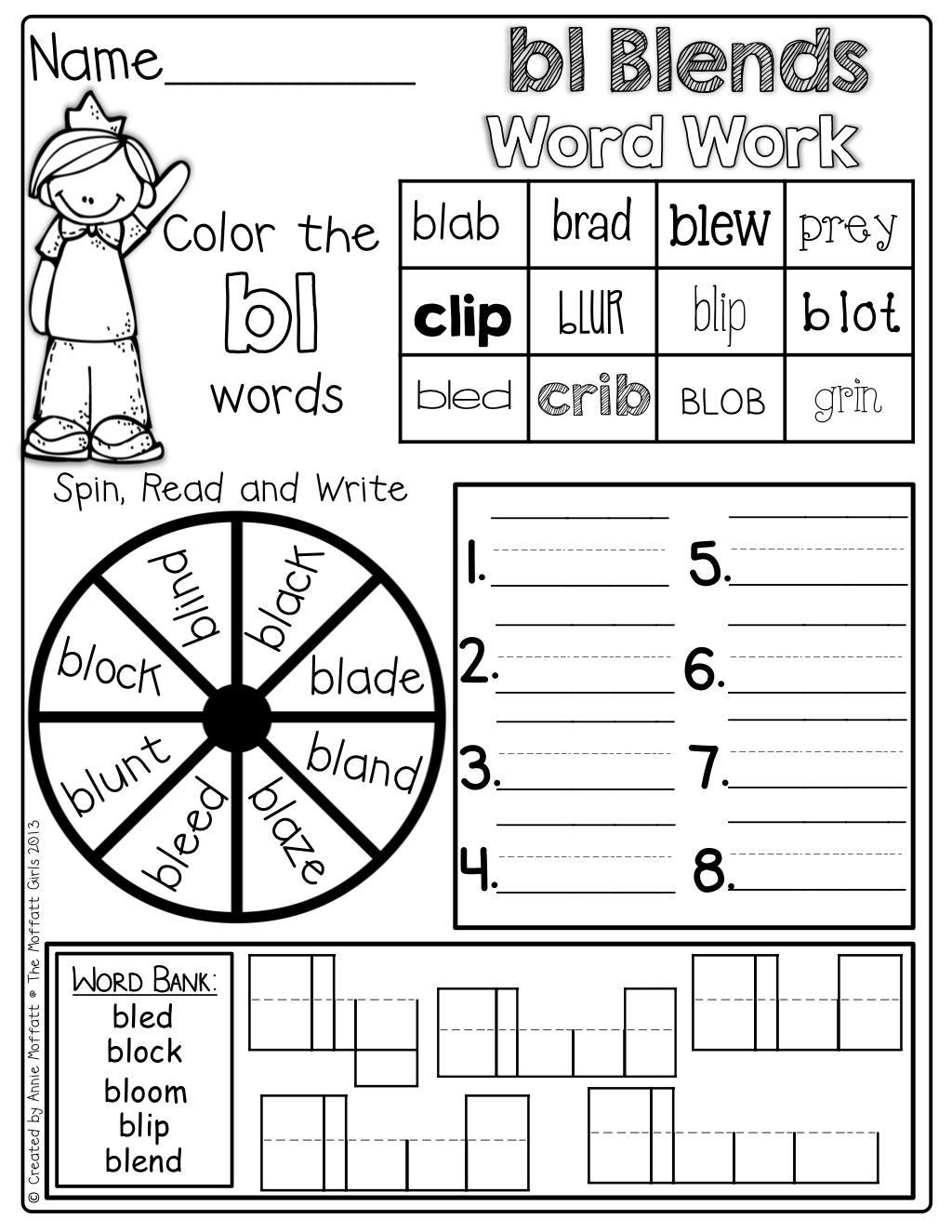 Beginning Blends Word Work So Many Activities On One Page