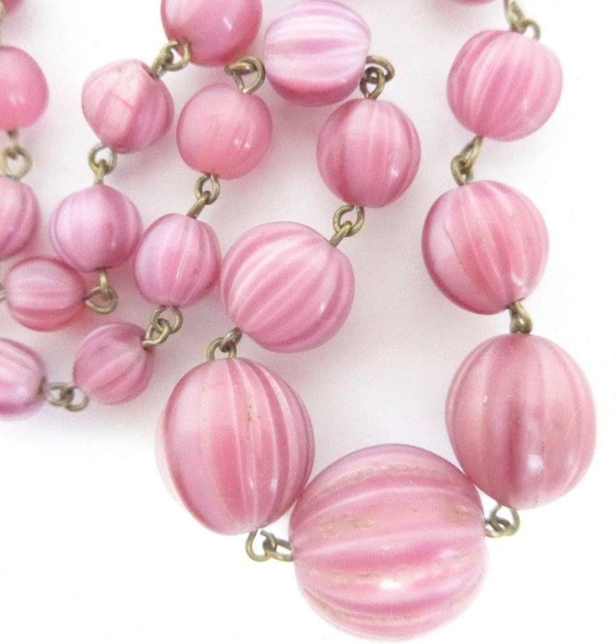 Vintage pink satin glass beads