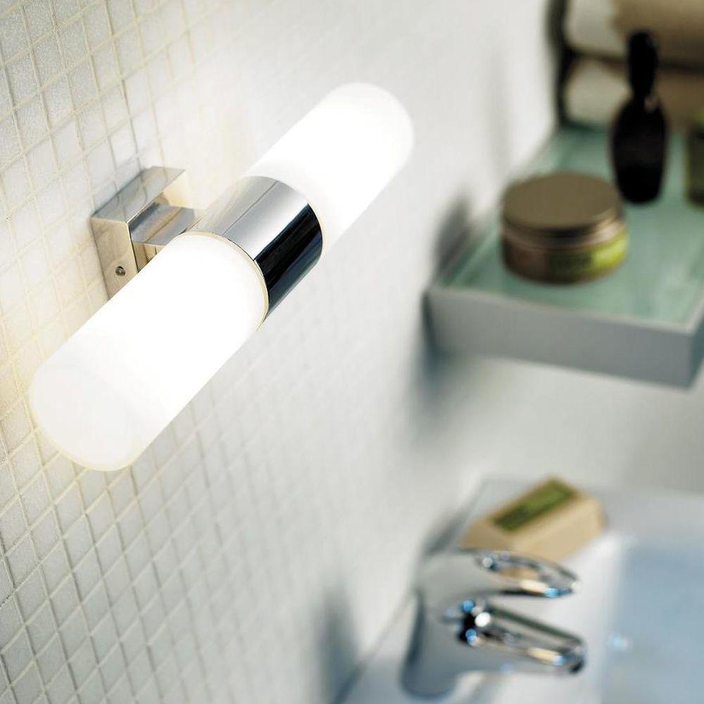 Badezimmer Wandleuchte Tangens Chrom 2xe14 Wandbeleuchtung Beleuchteter Spiegel Wandleuchte