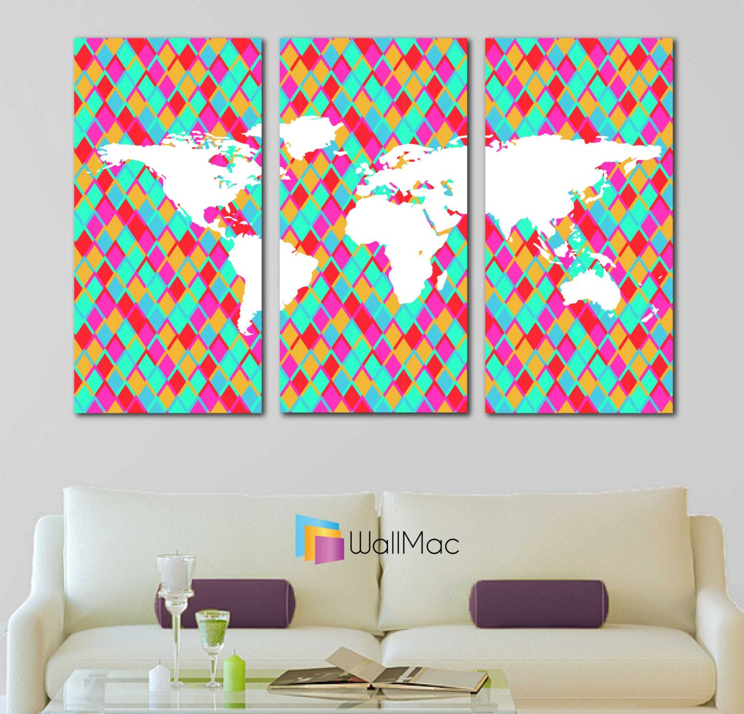 Bright hip colors world map wall canvas gallery wrap adhesive wall bright hip colors world map wall canvas gallery wrap adhesive wall color yellow pink purple turquoise gumiabroncs Choice Image