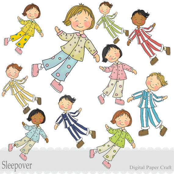 Childrens Sleepover Clipart Boys And Girls Instant Download Pyjama Party Clip Art Clipart Pyjama Kiga
