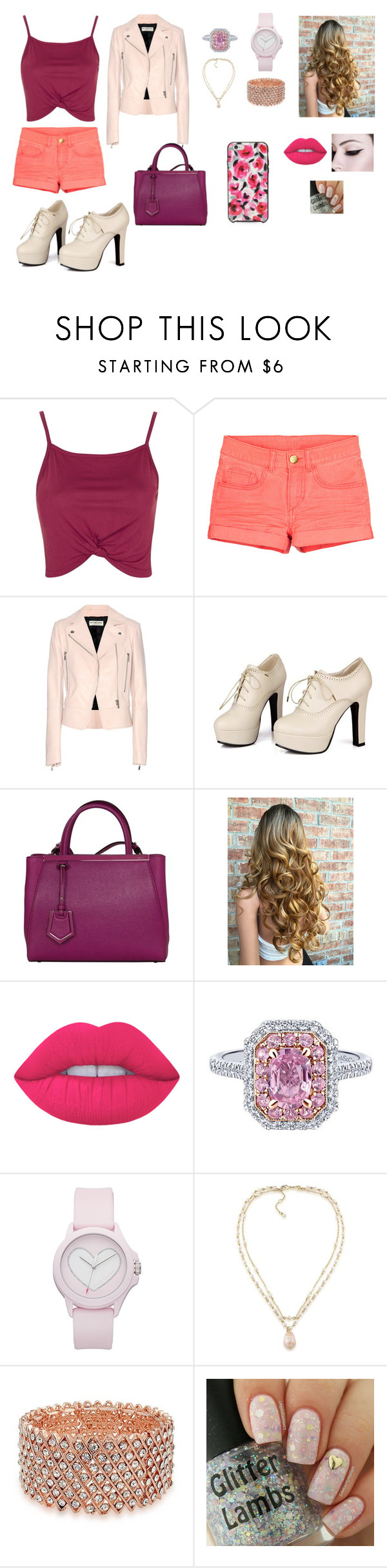 """""""PINK"""" by klaudija369 on Polyvore featuring Topshop, Balenciaga, Sidewalk, Fendi, Lime Crime, Juicy Couture, Carolee, Bling Jewelry and Kate Spade"""