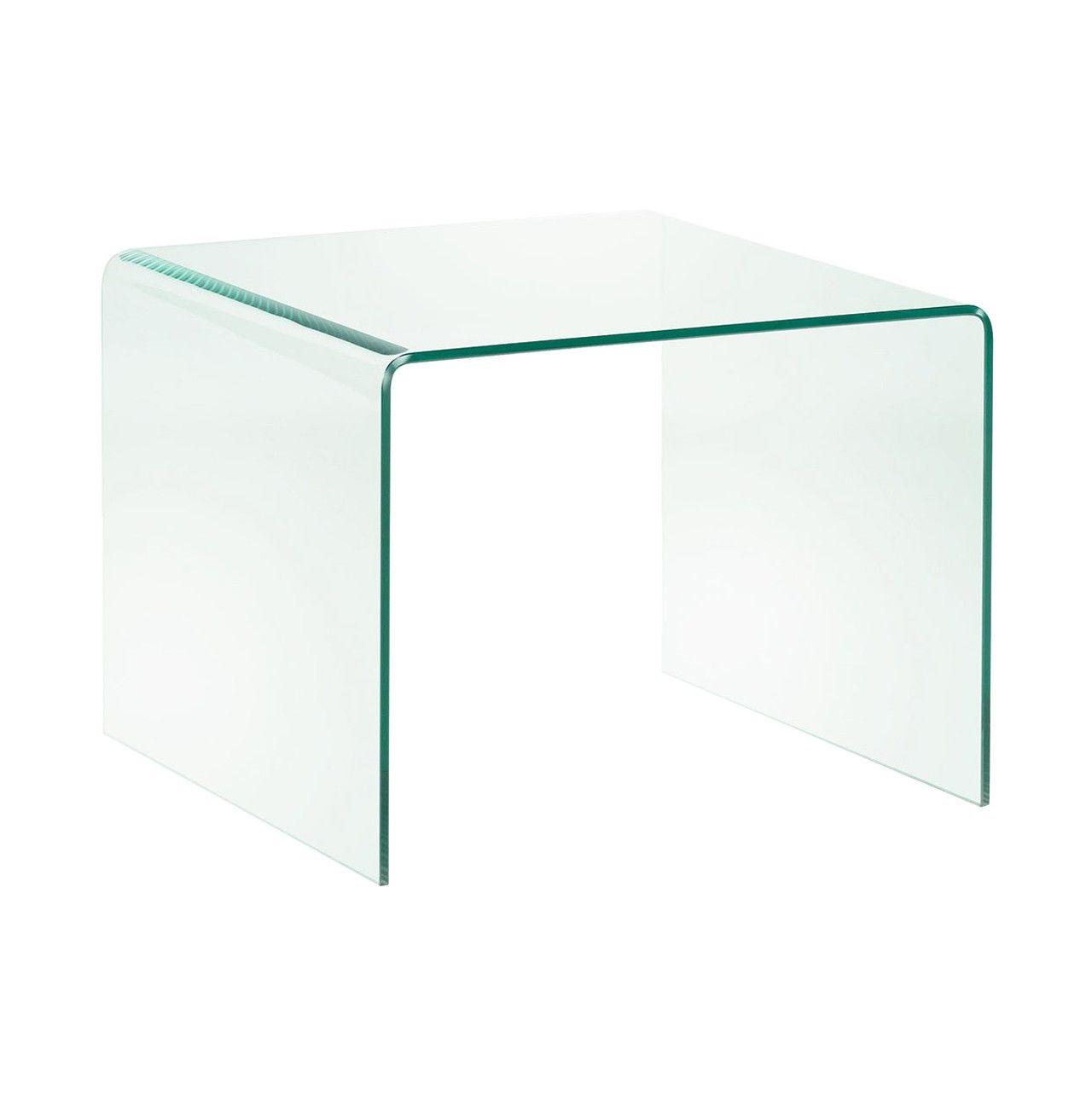Mesa Auxiliar En Cristal Templado Transparente Muebles
