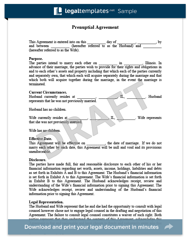 Prenuptial Agreement Sample  For More Information On Prenuptial