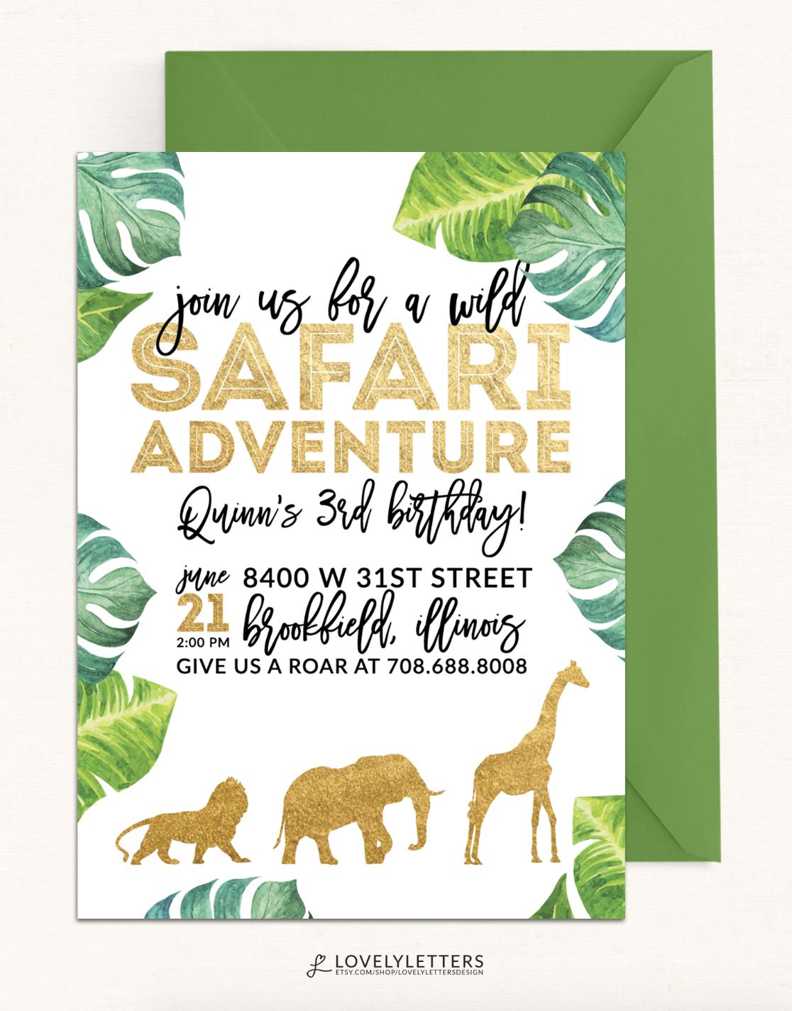 Golden Safari Invitation / Gold Safari Party / Wild Safari ...