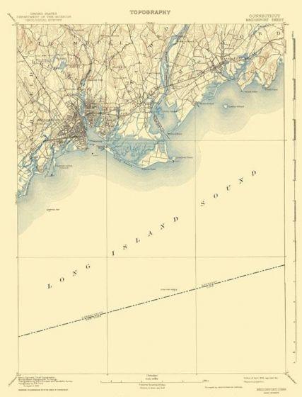 Topographic Map Ct.Topographical Map Print Bridgeport Connecticut Quad Usgs 1893