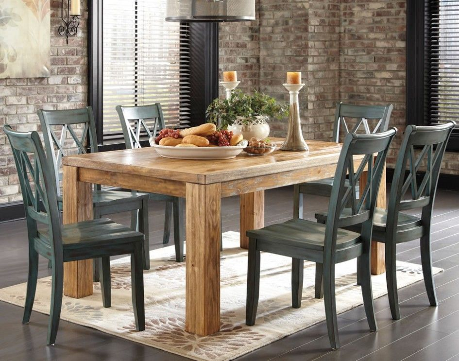 Decoration Rustic Dining Table With Blue Chairs Chicago Decorating Room