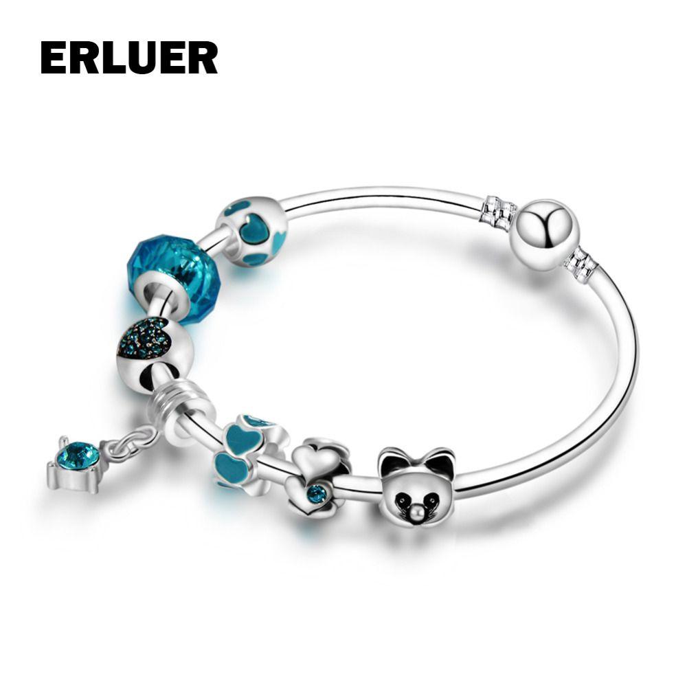 Erluer fashion animal diy european crystal glass strand beads
