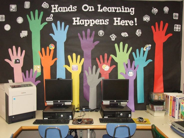Computer Lab Bulletin Board For Summer Got The Hand Idea From Clipart Then Made Many Changes To Make It My Own Tered Icons Are Grayscale