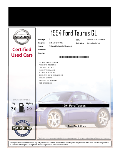 Windowsticker Us Designer For 1994 Ford Taurus Gl Vin