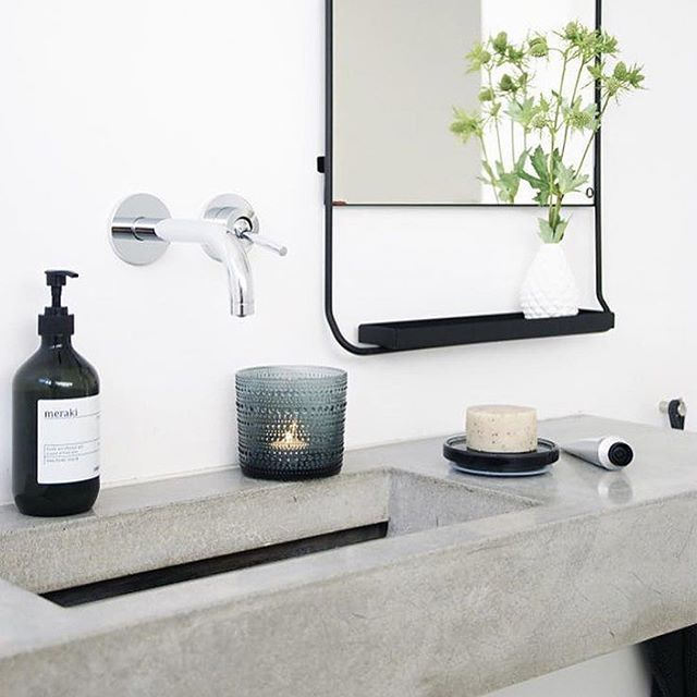 Homedesignideas Eu: Black Framed Mirror, Cement Sink, Delicate Plant, White