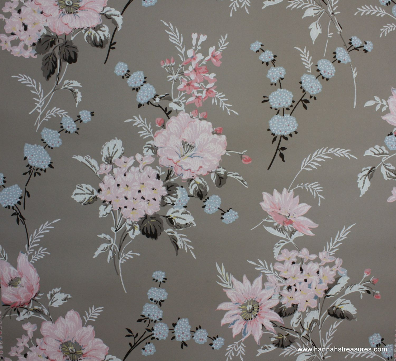 1940s Vintage Wallpaper Gray With Pink Blue And Black Floral