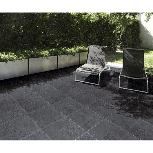Carrelage extérieur Ardenia en grès cérame émaillé, noir, 45 x 45 cm - carrelage terrasse exterieur imitation bois
