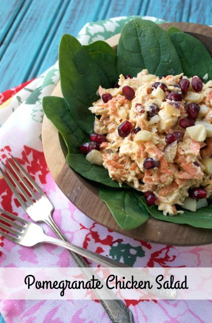 Paleo Pomegranate Chicken Salad combines sweet shredded carrots, buttery macadamia nuts and tart pomegranate seeds for a delicious Whole30 lunch!