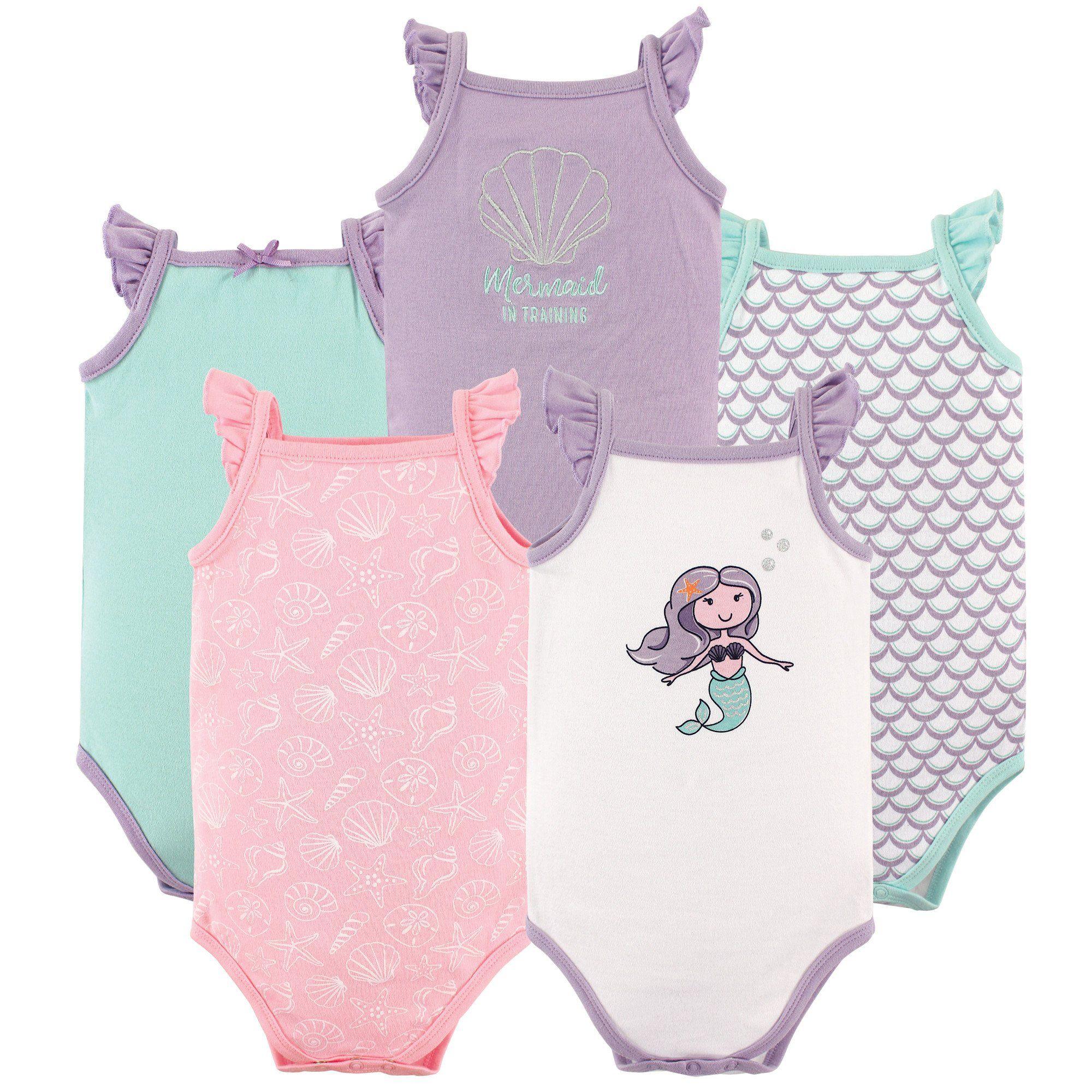 Hudson Baby Baby Sleeveless Bodysuits 5 Pack Mermaid 36 Months