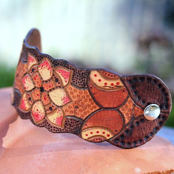 Leather Bracelet Cuff brown red yellow Texas Rose by JoJoBell, $48.00