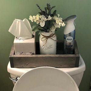 Bathroom Decor Box Storage Wooden Toilet Paper Holder Funny Home Decor Stand for Bathroom Table and Counter Rustic Grey Kitchen