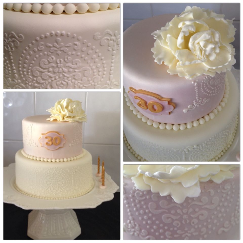 Fondant Stencilled 30th Birthday Cake