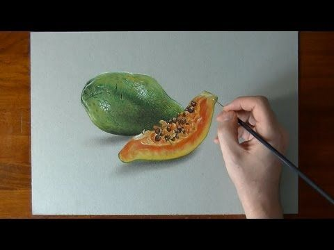 Fruit Papaya Watercolor Colored Pencil Drawing Fruits