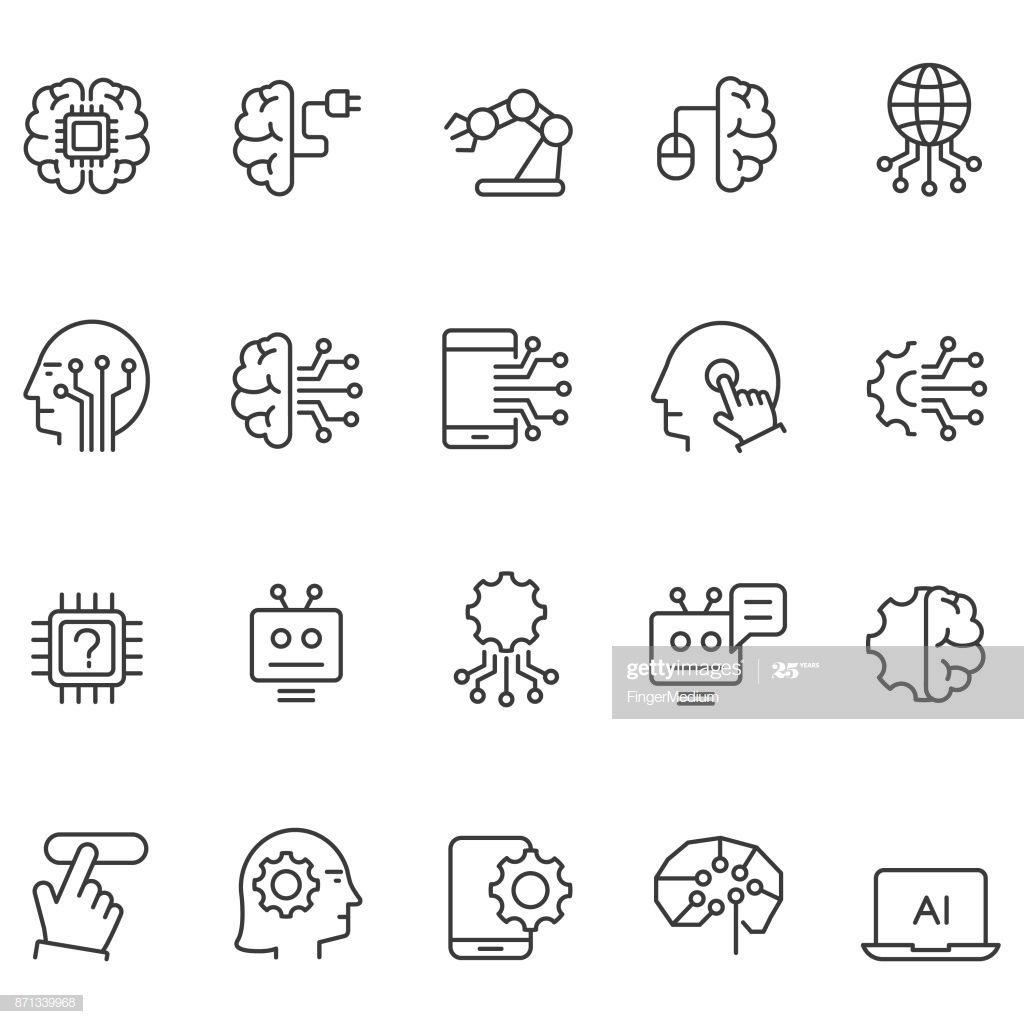 Artificial intelligence icons set in 2020 Artificial