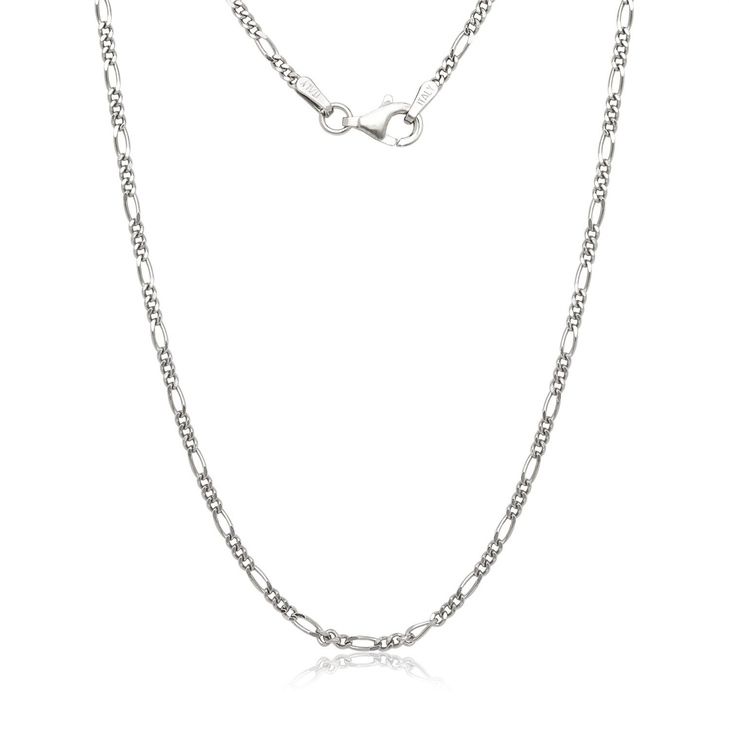 Italian Rhodium-Plated Sterling Silver 16-inch to 30-inch Light Figaro Chain (18-inch), Women's, Size: 18 Inch, White