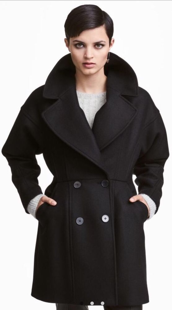 H M New Wool Blend Oversized Black Coat! UK14 40EU   Fashion ... a5a209b8cbdc