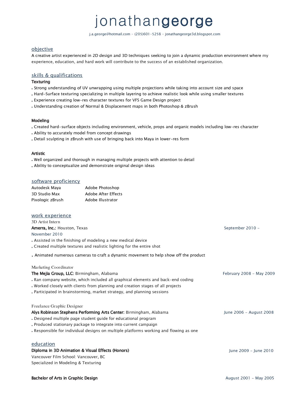 Cv Template 3d Artist Makeup Artist Resume Artist Resume