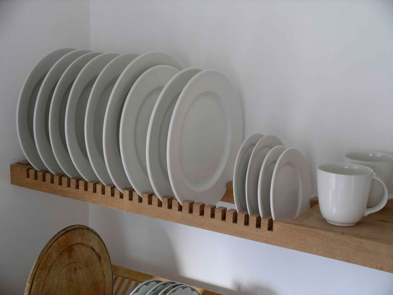 Wall mounted plate racks for kitchens - Kitchen Plate Rack Is An Extension Of The Solid Beech Shelf