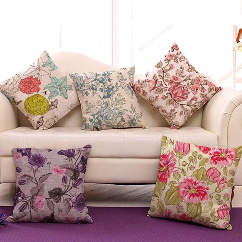 Table & Sofa Linens Flowers Style Cushion Cotton Linen Vintage Home Decorative Pillowcase Sofa Chair Square Throw Pillows Home Living Textile