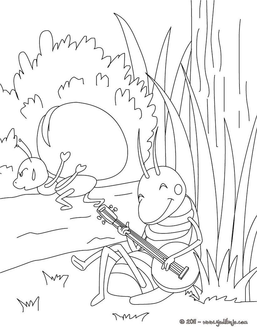 Dibujo Para Colorear Cuento La Cigarra Y La Hormiga Printable
