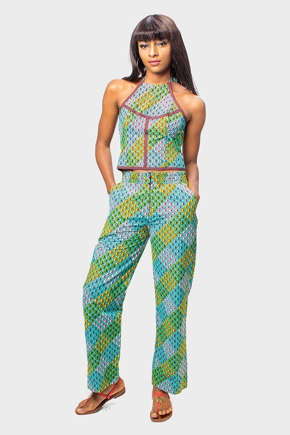 035d02b1f0ebe Halter Neck Ankara Crop Top and Pants