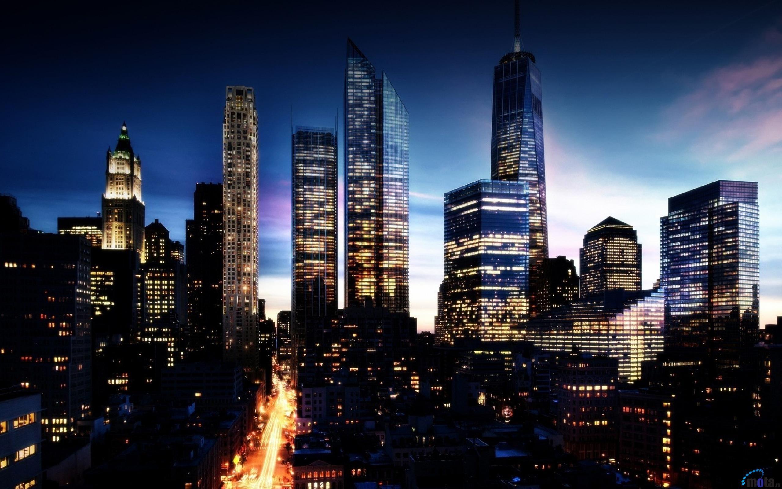 Обои огни, Город, Пейзаж, небоскребы, ночь. Города foto 13