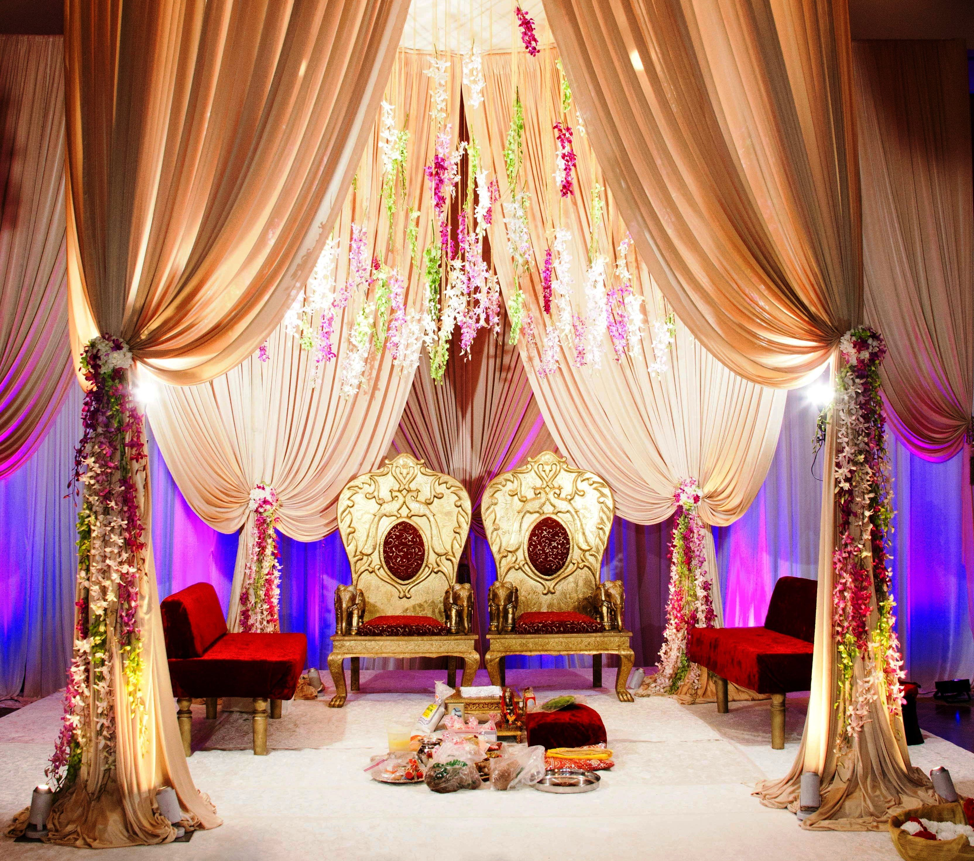 Elegant Indian Wedding Ceremony Decoration With Dendrobium Hanging And Touches Of Crystals