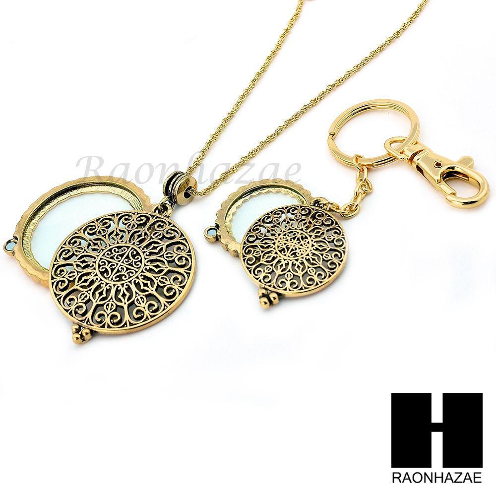 Gold x magnifying glass round filigree key chain pendant chain